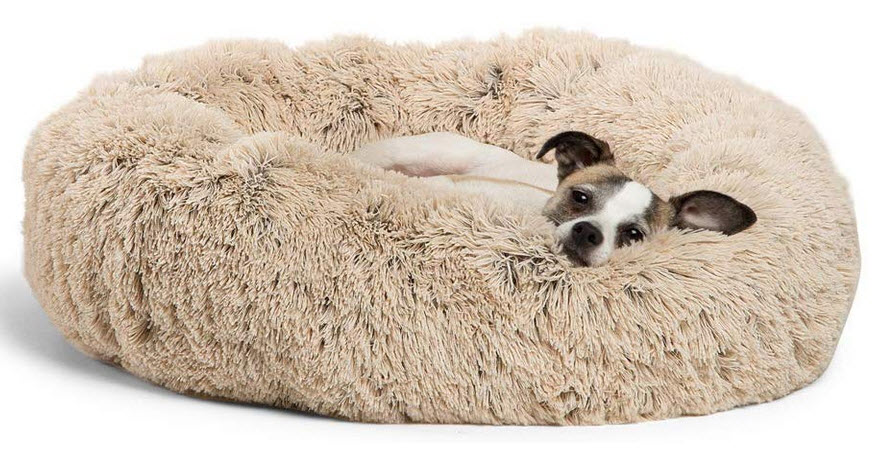 Dogs faux fur donut bed