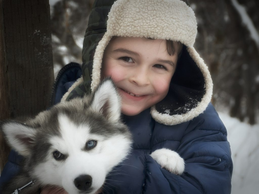 little boy holding puppy